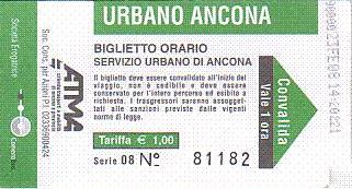 Communication of the city: Ancona (Włochy) - ticket abverse