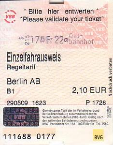 Communication of the city: Berlin (Niemcy) - ticket abverse