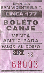 Communication of the city: Buenos Aires (Argentyna) - ticket abverse
