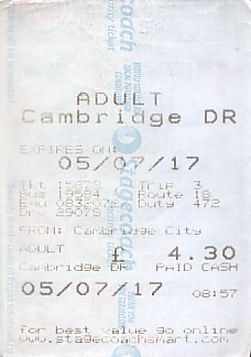 Communication of the city: Cambridge (Wielka Brytania) - ticket abverse