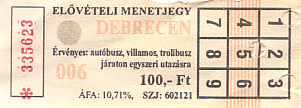 Communication of the city: Debrecen (Węgry) - ticket abverse