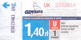 Communication of the city: Gdynia (Polska) - ticket abverse