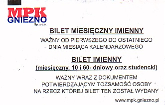 Communication of the city: Gniezno (Polska) - ticket reverse