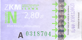 Communication of the city: Iława (Polska) - ticket abverse