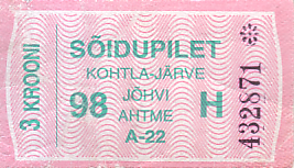 Communication of the city: Kohtla-Järve (Estonia) - ticket abverse
