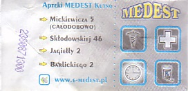 Communication of the city: Kutno (Polska) - ticket reverse