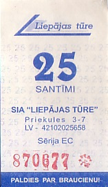 Communication of the city: Liepāja (Łotwa) - ticket abverse