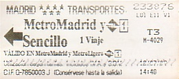 Communication of the city: Madrid (Hiszpania) - ticket abverse