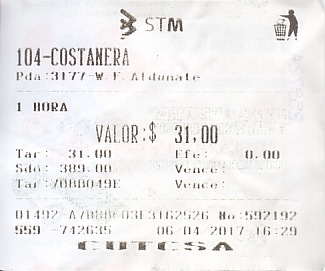 Communication of the city: Montevideo (Urugwaj) - ticket abverse