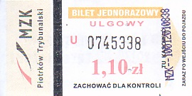 Communication of the city: Piotrków Trybunalski (Polska) - ticket abverse