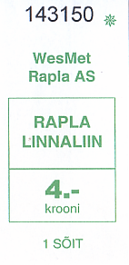 Communication of the city: Rapla (Estonia) - ticket abverse