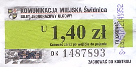 Communication of the city: Świdnica (Polska) - ticket abverse