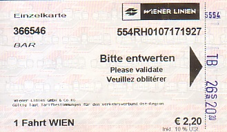Communication of the city: Wien (Austria) - ticket abverse